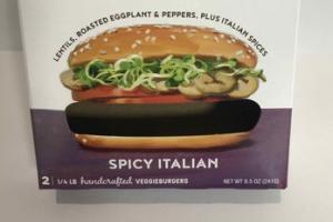 LENTILS, ROASTED EGGPLANT & PEPPERS, PLUS ITALIAN SPICES THE TRUE VEGGIEBURGER