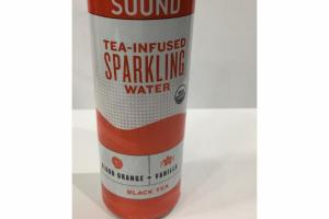 BLOOD ORANGE + VANILLA BLACK TEA-INFUSED SPARKING WATER