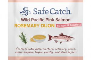 ROSEMARY DIJON WILD PACIFIC PINK SALMON SEASONED WITH YELLOW MUSTARD, ROSEMARY, GARLIC, ONION, OREGANO, THYME, PARSLEY, AND BLACK PEPPER