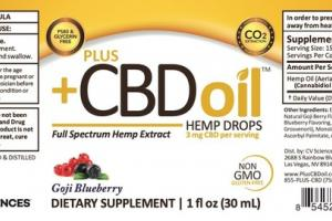 FULL SPECTRUM HEMP EXTRACT 3 MG CBD DIETARY SUPPLEMENT DROPS, GOJI BLUEBERRY
