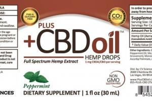 FULL SPECTRUM HEMP EXTRACT DROPS DIETARY SUPPLEMENT, PEPPERMINT