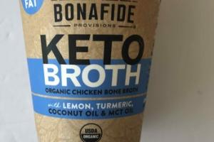 ORGANIC CHICKEN BONE KETO BROTH WITH LEMON, TURMERIC, COCONUT OIL & MCT OIL