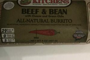 BEEF & BEAN WITH CHEESE AND GREEN CHILE ALL NATURAL BURRITO