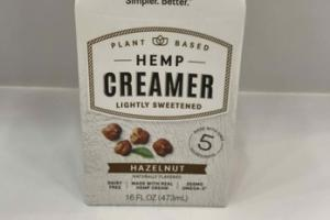 HAZELNUT LIGHTLY SWEETENED HEMP CREAMER