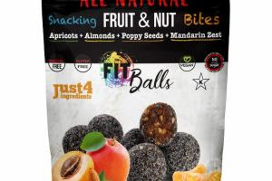 APRICOTS + ALMONDS + POPPY SEEDS + MANDARIN ZEST FRUIT & NUT BITES SNACKING