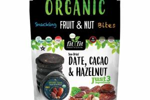 SUN-DRIED DATE, CACAO & HAZELNUT ORGANIC SNACKING FRUIT & NUT BITES