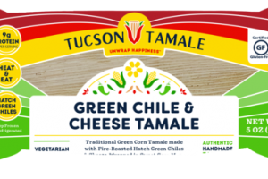 TRADITIONAL GREEN CORN TAMALE MADE WITH FIRE-ROASTED HATCH GREEN CHILES & CHEESE, WRAPPED IN SWEET CORN MASA