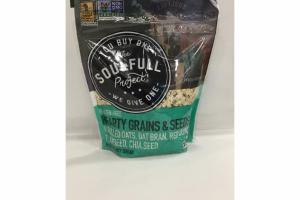 GLUTEN FREE HEARTY GRAINS & SEEDS ROLLED OATS, OAT BRAN, RED QUINOA, FLAXSEED, CHIA SEED