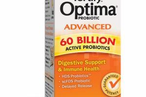 OPTIMA PROBIOTIC ADVANCED DIGESTIVE SUPPORT & IMMUNE HEALTH VEGETARIAN CAPSULES DIETARY SUPPLEMENT