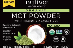 ORGANIC MCT POWDER WITH PREBIOTIC ACACIA FIBER DIETARY SUPPLEMENT, MATCHA