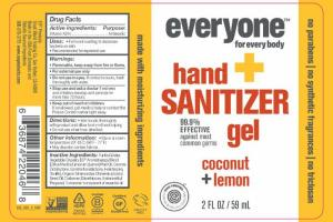 HAND + SANITIZER GEL, COCONUT + LEMON
