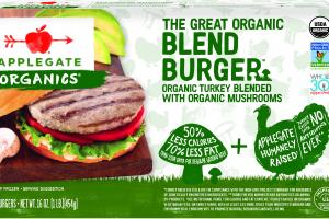 THE GREAT ORGANIC BLEND BURGER ORGANIC TURKEY BLENDED WITH ORGANIC MUSHROOMS