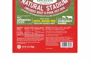 NATURAL STADIUM UNCURED BEEF & PORK HOT DOG