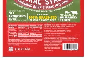NATURAL STADIUM UNCURED BEEF & PORK HOT DOG