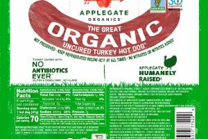 THE GREAT ORGANIC UNCURED TURKEY HOT DOG