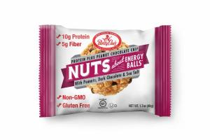PROTEIN PLUS PEANUT CHOCOLATE CHIP WITH PEANUTS, DARK CHOCOLATE & SEA SALT NUTS ABOUT ENERGY BALLS