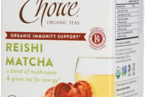 HERBAL DIETARY SUPPLEMENT TEA BAGS, REISHI MATCHA