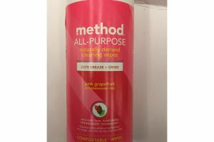 ALL-PURPOSE NATURALLY DERIVED CLEANING WIPES, PINK GRAPEFRUIT PAMPLEMOUSSE ROSE