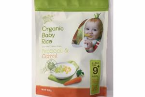 BROCCOLI & CARROT ORGANIC BABY RICE WITH WHOLE GRAIN CEREAL