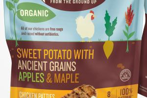 SWEET POTATO WITH ANCIENT GRAINS APPLES & MAPLE CHICKEN PATTIES