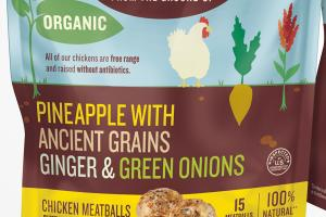 PINEAPPLE WITH ANCIENT GRAINS GINGER & GREEN ONIONS CHICKEN MEATBALLS
