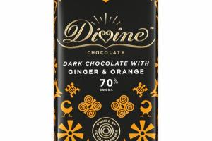 70% COCOA DARK CHOCOLATE WITH GINGER & ORANGE