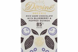 ORGANIC RICH DARK CHOCOLATE WITH BLUEBERRY & POPPED QUINOA