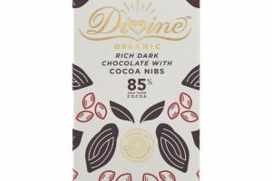 ORGANIC RICH DARK CHOCOLATE WITH COCOA NIBS
