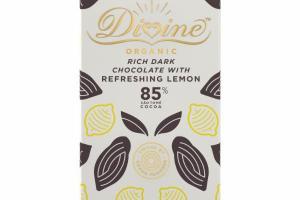 85% COCOA ORGANIC RICH DARK CHOCOLATE WITH REFRESHING LEMON