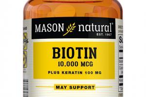 BIOTIN 10,000 MCG PLUS KERATIN 100 MG DIETARY SUPPLEMENT, TABLETS
