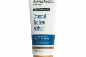 DETOXIFYING FOOT SCRUB, CHARCOAL TEA TREE WALNUT