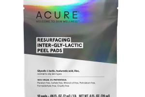 RESURFACING INTER-GLY-LACTIC PEEL PADS, GLYCOLIC & LACTIC, HYALURONIC ACID, LILAC