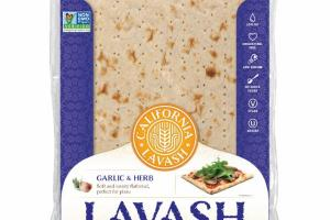 GARLIC & HERB LAVASH SOFT AND SAVORY FLATBREAD, PERFECT FOR PIZZA