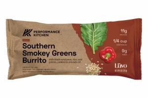 SOUTHERN SMOKEY GREENS BURRITO WITH BLACK-EYED PEAS, RICE, AND GREENS, COOKED IN AVOCADO OIL