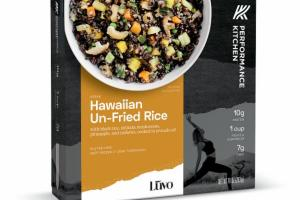 HAWAIIAN UN-FRIED RICE WITH BLACK RICE, SHIITAKE MUSHROOMS, PINEAPPLE, AND CASHEWS, COOKED IN AVOCADO OIL BOWL