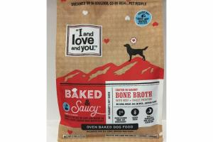 BAKED & SAUCY COATED IN SAVORY BONE BROTH WITH BEEF + SWEET POTATOES DOG FOOD