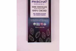 ORGANIC DARK CHOCOLATE 100% CACAO WITH COCOA NIBS