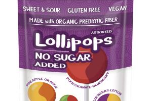 PINEAPPLE ORANGE, FUJI APPLE, POMEGRANATE-BLUEBERRY, BLUEBERRY-LEMON ASSORTED LOLLIPOPS