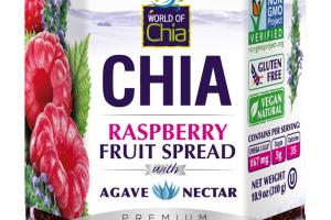 PREMIUM CHIA RASPBERRY FRUIT SPREAD WITH AGAVE NECTAR