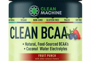 CLEAN BCAA COCONUT WATER ELECTROLYTES DIETARY SUPPLEMENT, FRUIT PUNCH
