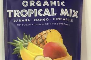 DRIED ORGANIC BANANA, MANGO, PINEAPPLE TROPICAL MIX