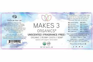 ORGANIC CREAMY CASTILE SOAP, UNSCENTED (FRAGRANCE-FREE), INFUSED WITH ORGANIC SHEA BUTTER