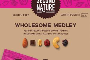 WHOLESOME MEDLEY ALMONDS, DARK CHOCOLATE CHUNKS, PEANUTS, DRIED CRANBERRIES, CASHEWS, DRIED CHERRIES