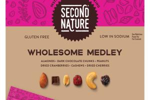 ALMONDS, DARK CHOCOLATE CHUNKS, PEANUTS, DRIED CRANBERRIES, CASHEWS, DRIED CHERRIES, WHOLESOME MEDLEY