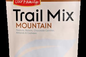 MOUNTAIN PEANUTS, RAISINS, CHOCOLATE CANDIES, ALMONDS & CASHEWS TRAIL MIX