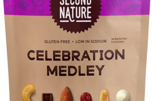 CELEBRATION MEDLEY CASHEWS, DARK CHOCOLATE CHUNKS, ALMONDS, DRIED CRANBERRIES, PEANUTS, WHITE CHOCOLATE DROPS INSTINCTIVELY GOOD SNACKING