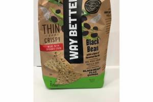 THIN AND CRISPY BLACK BEAN WITH A HINT OF ROASTED GARLIC, 100% WHOLE GRAIN TORTILLA CHIPS SNACKS