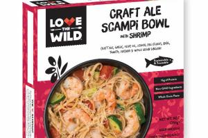 CRAFT ALE SCAMPI BOWL WITH SHRIMP, CRAFT ALE, GARLIC, OLIVE OIL, LEMON, CHILI FLAKES, BASIL, TOMATO, ZUCCHINI & WHOLE GRAIN LINGUINI