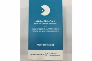 MEGA EPA+DHA 2,000 MG OMEGA-3 FISH OIL SOFTGELS DIETARY SUPPLEMENT
