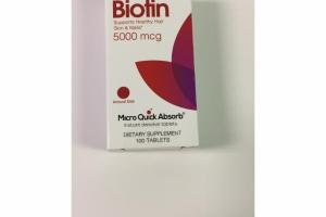 BIOTIN SUPPORTS HEALTHY HAIR SKIN & NAILS 5000 MCG DIETARY SUPPLEMENT TABLETS